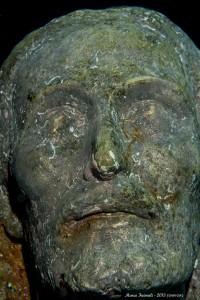 Il viso del Cristo degli Abissi dopo la pulizia ad idrogetto