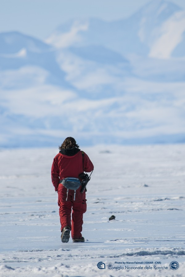 man alone on ice